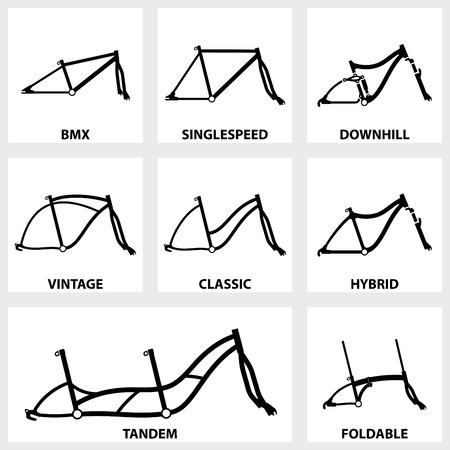 freeride: Vector negro conjunto de iconos cuadro de la bicicleta en el fondo blanco Vectores