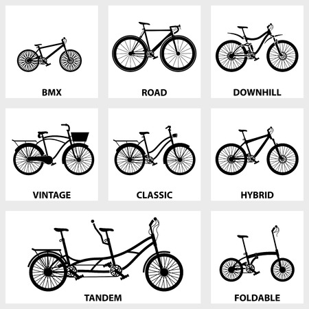 bicicleta vector: Vector negro conjunto de iconos en bicicleta sobre fondo blanco