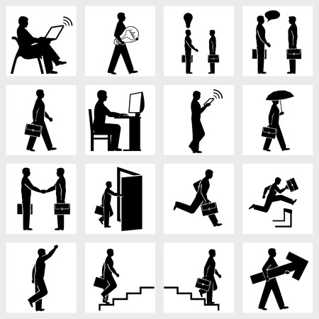 steeplechase: Set of icons of Business people silhouettes