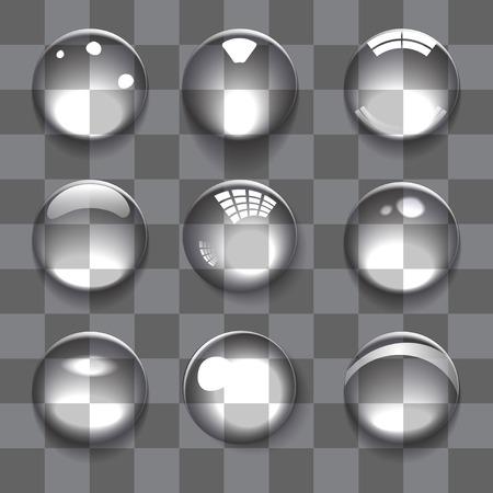 Set of transparent bubbles on color background