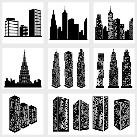 Buildings icons vector black on white background Vector