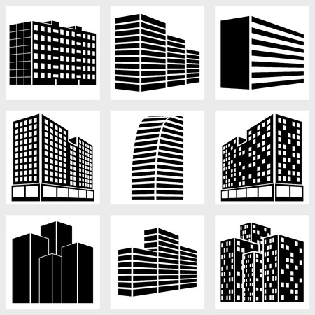 Buildings icons vector black on white background