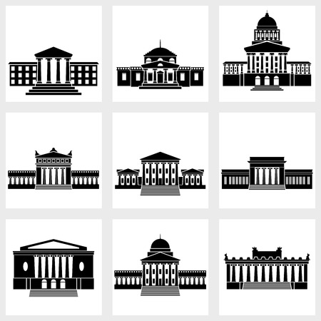 government: Icons of buildings with columns on a white background Illustration