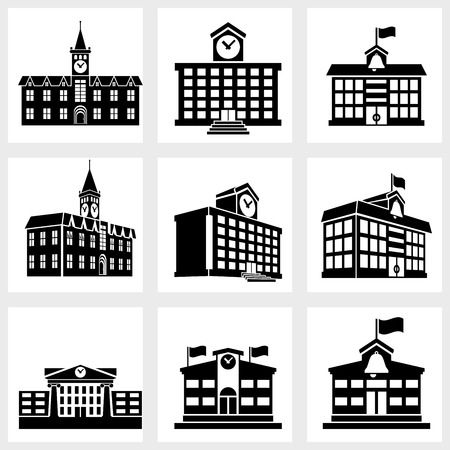 old building facade: Icons for school on a white background