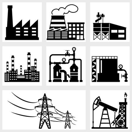 industria petroquimica: iconos de la industria del vector negro energía de la energía fábrica Vectores