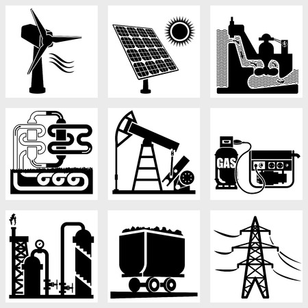 industry icons black vector energy factory power Vector