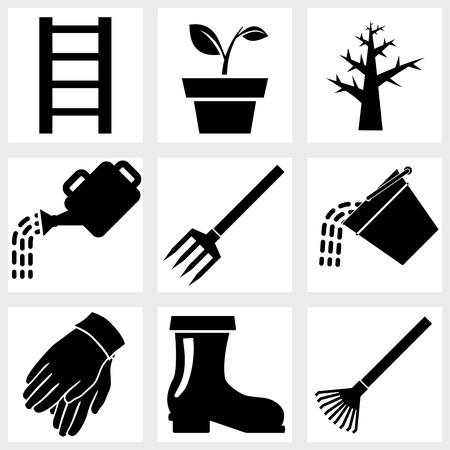 lawnmower: Garden icons black vector plant tools farm Illustration