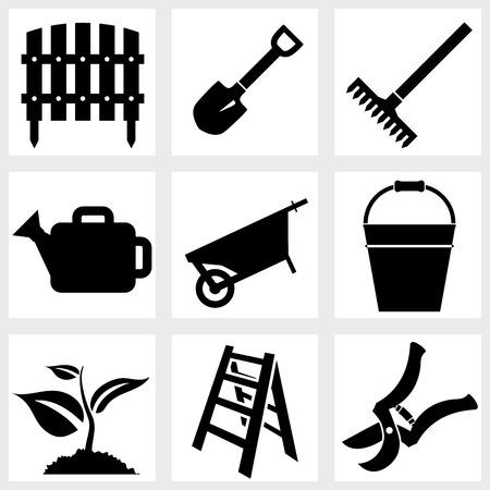 Iconos del vector jardín negro planta herramientas agrícolas