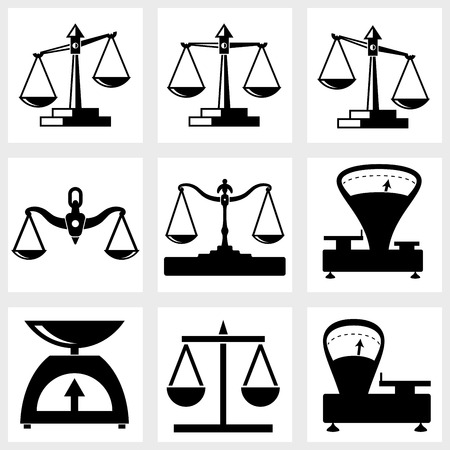 acquittal: Scales icon black on white background Illustration