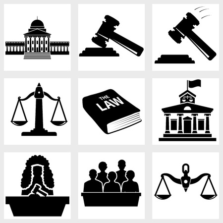 judicial system: Court icon vector black on white background Illustration
