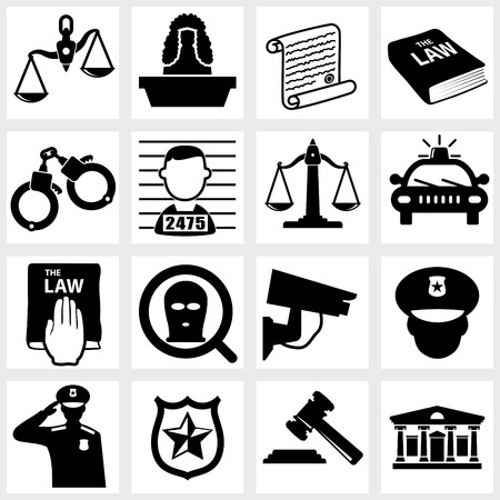 investigations: Court icon vector black on white background Illustration