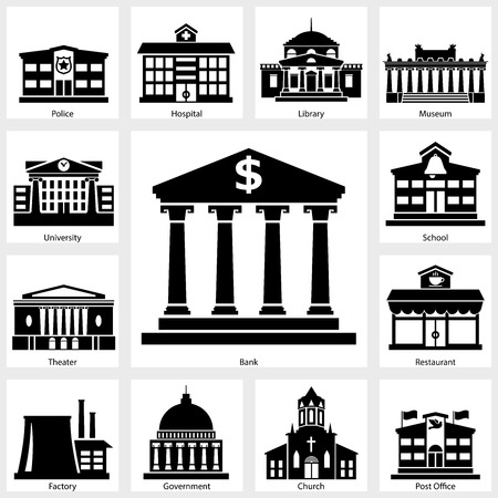 city  buildings: Building icon on white background