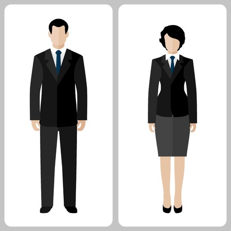 Woman and man vector colorful on white background Çizim
