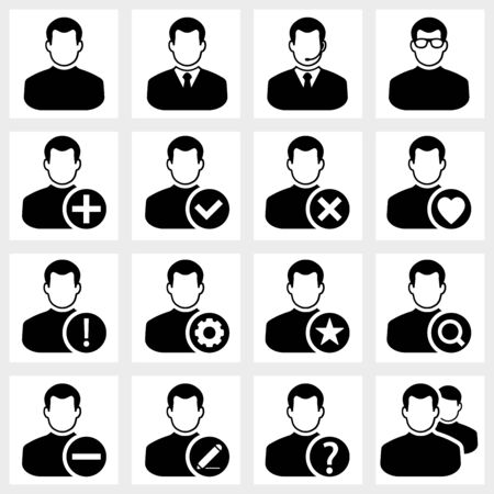 edit icon: Users icon vector black on white background