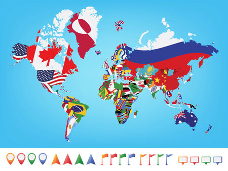discovering: World map with flag on blue background