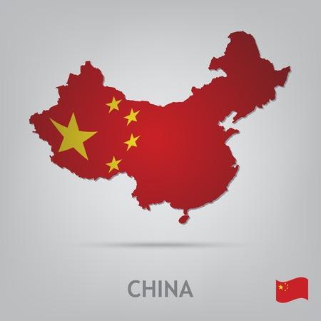 mapa china: La bandera del pa�s en forma de fronteras Vectores