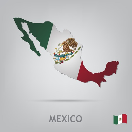 mexico background: The flag of the country in the form of borders