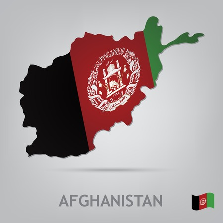 afghanistan: The flag of the country in the form of borders