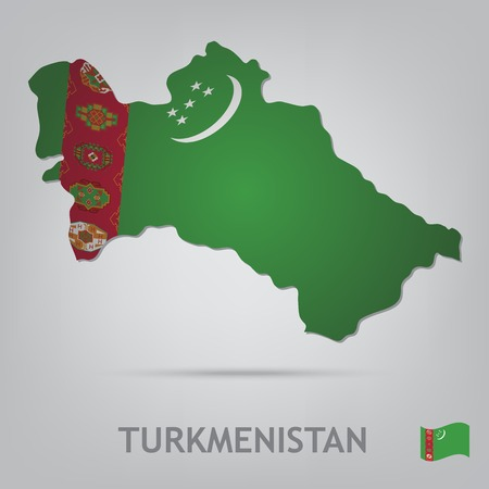 turkmenistan: The flag of the country in the form of borders