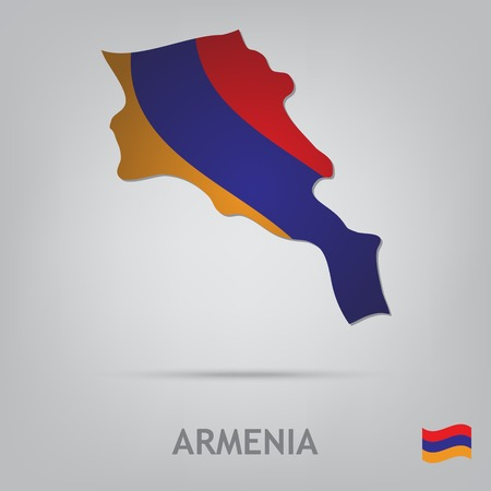 map of armenia: The flag of the country in the form of borders
