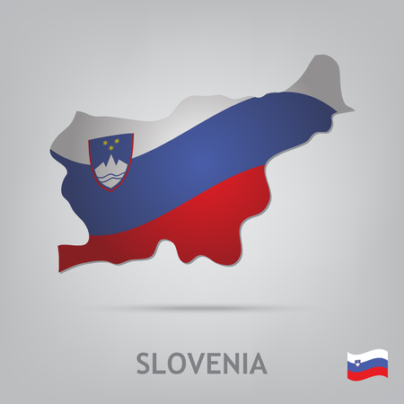 slovenia: The flag of the country in the form of borders