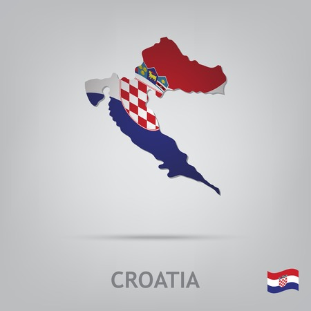 bandera de croacia: La bandera del país en forma de fronteras Vectores
