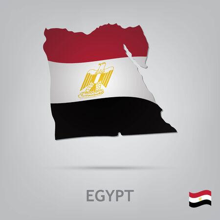 bandera de egipto: La bandera del país en forma de fronteras Vectores