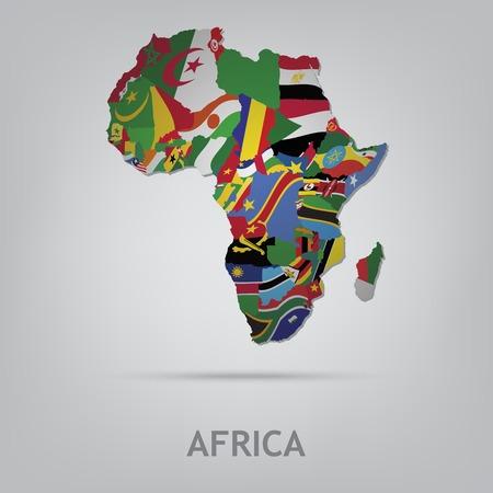 continente: La bandera del país en forma de fronteras Vectores