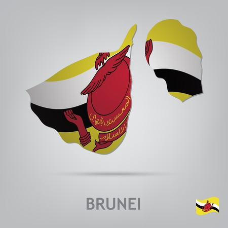 map of brunei: The flag of the country in the form of borders