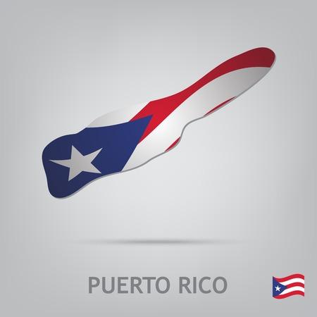 bandera de puerto rico: La bandera del país en forma de fronteras Vectores
