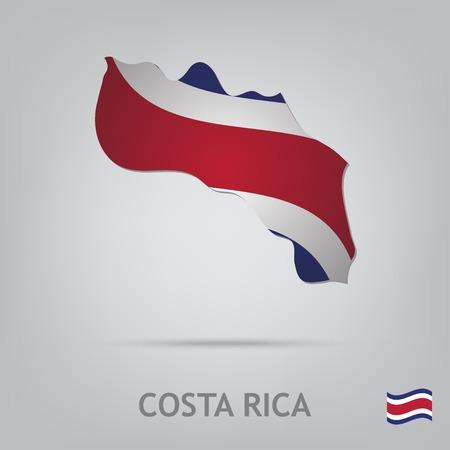 bandera de costa rica: La bandera del país en forma de fronteras Vectores