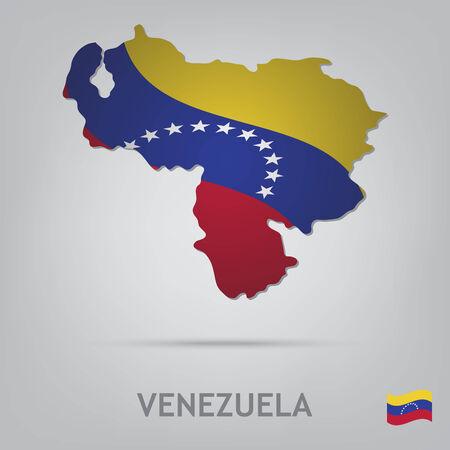 mapa de venezuela: La bandera del país en forma de fronteras Vectores