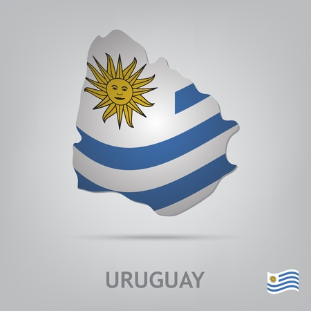 uruguay: The flag of the country in the form of borders
