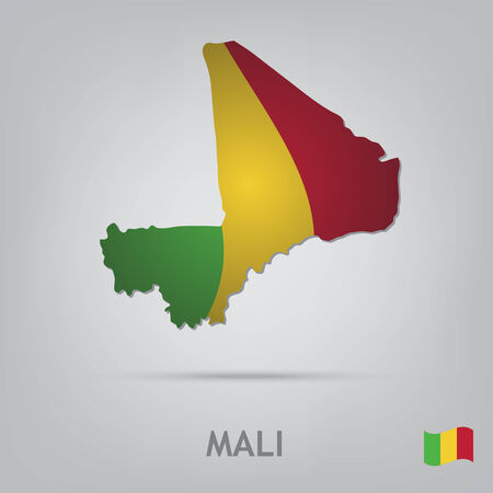mali: The flag of the country in the form of borders