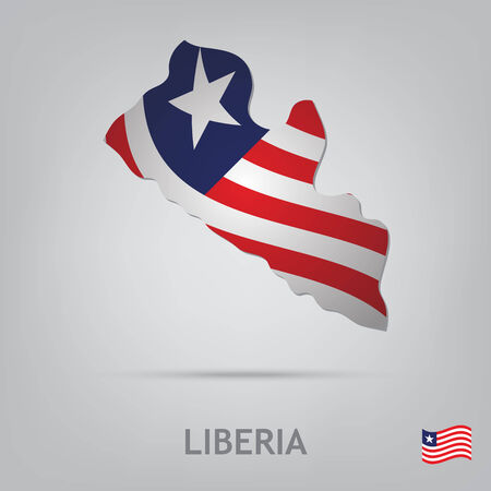 liberia: The flag of the country in the form of borders