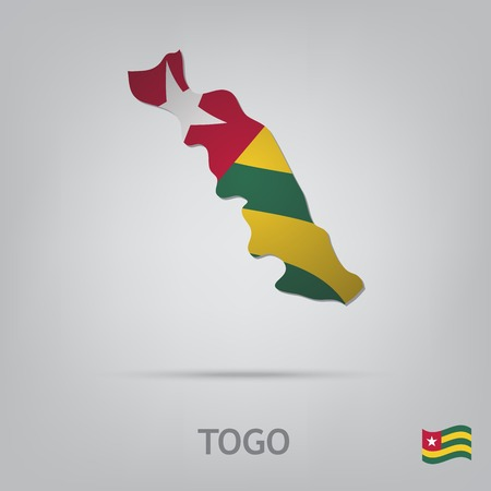 togo: The flag of the country in the form of borders