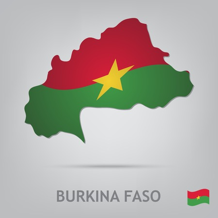 burkina faso: The flag of the country in the form of borders