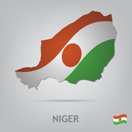 niger: The flag of the country in the form of borders