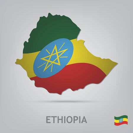 ethiopia abstract: The flag of the country in the form of borders