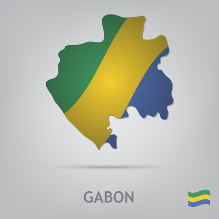 gabon: The flag of the country in the form of borders