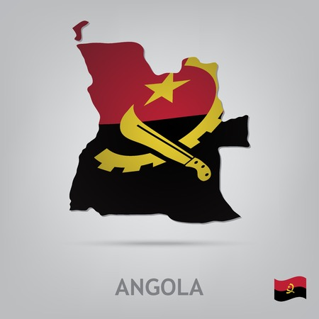 angola: The flag of the country in the form of borders