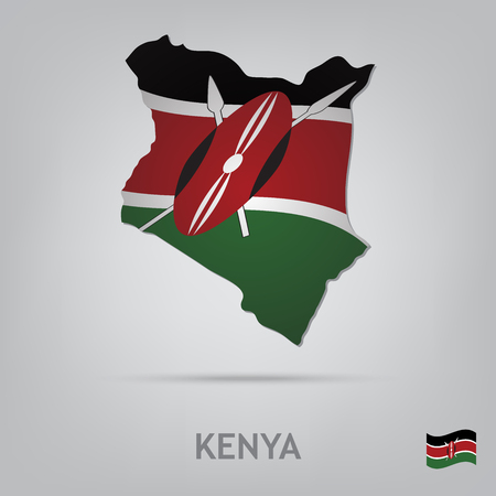 kenya: The flag of the country in the form of borders