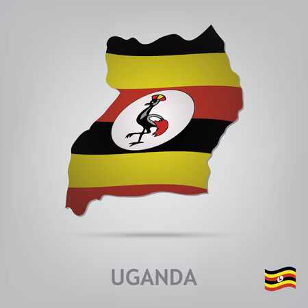uganda: The flag of the country in the form of borders