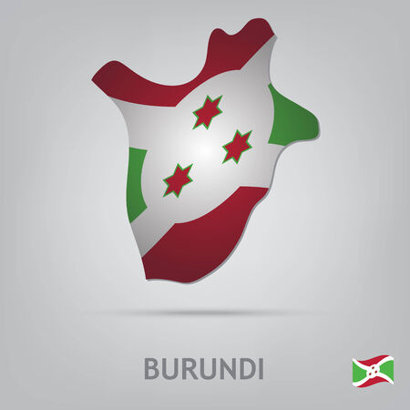 burundi: The flag of the country in the form of borders