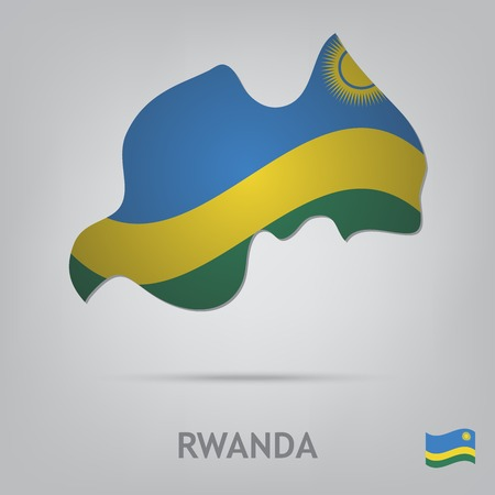 rwanda: The flag of the country in the form of borders