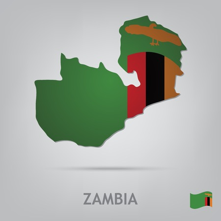 zambia: The flag of the country in the form of borders