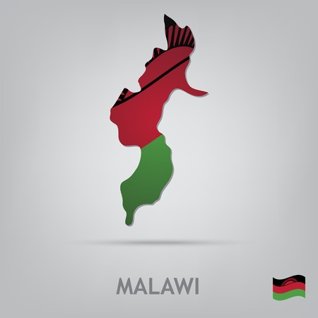malawi flag: The flag of the country in the form of borders