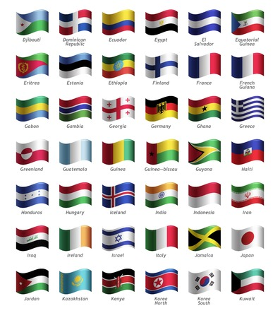 Set of buttons with flags part II Vector
