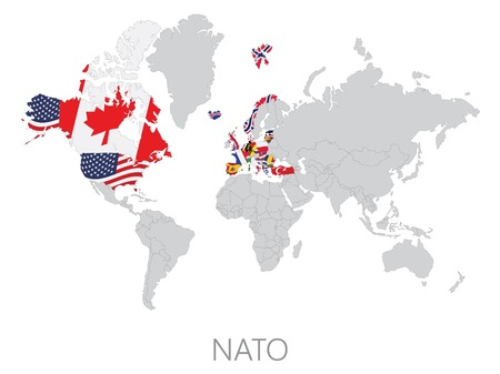 north atlantic treaty organization: Nato on world map on white background
