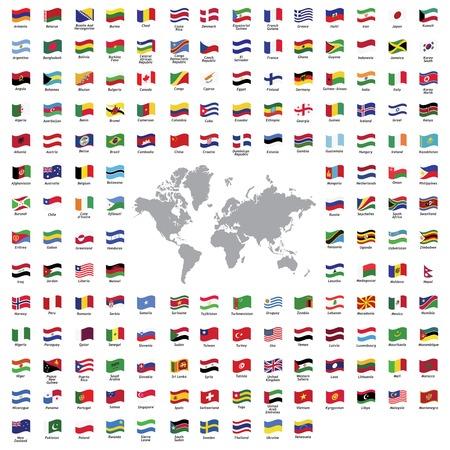 Todas las banderas de los países oficiales y mapa del mundo Foto de archivo - 33569668